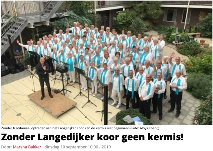 Uit: Langedijk in het nieuws 10 september 2019