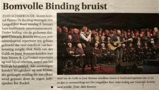Uit: Langedijker Nieuwsblad 09 januari 2019