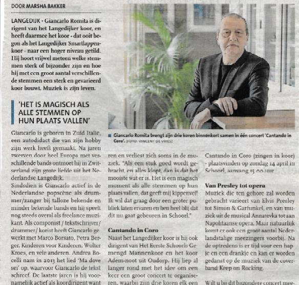 Uit: Langedijker Nieuwsblad 20 maart 2019