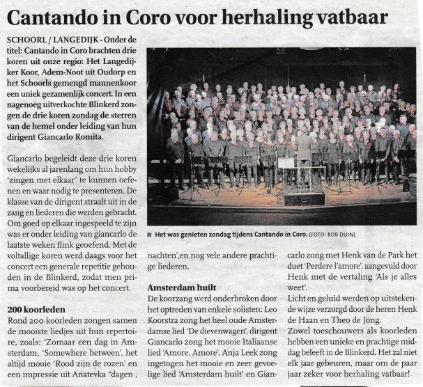 Uit: Langedijker Nieuwsblad 24 april 2019